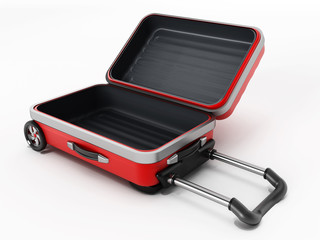 Red suitcase with open lid