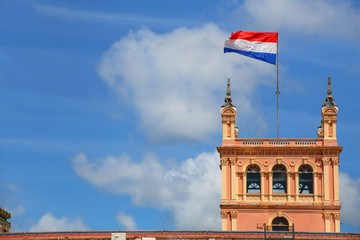 National flag flying above Presidential Palace in Asuncion, Para