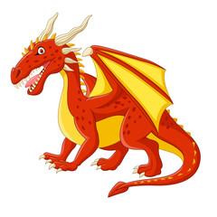 Cartoon red dragon posing