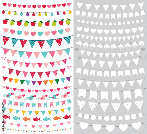 birthday and party bunting banners set with blank templates stock