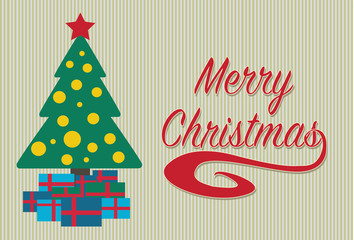 Merry Christmas card with gift boxes