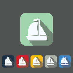 Set of 6 flat yacht icons on colorfull backgrounds