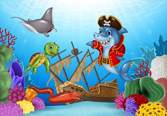 Cartoon sea animals with Shipwreck on the ocean