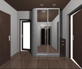 interior design wardrobe with mirrored sliding doors 3D rendering