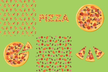Pizza set. Pizza, pieces of pizza and seamless pattern on an olive background