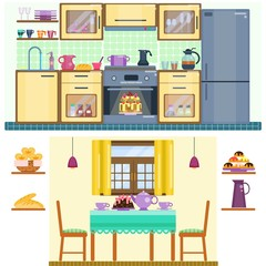 Set of kitchen and dining room interior with utensils, appliances and furniture. Stove and oven, fridge and kitchen furniture. Dining table  and two chairs. Flat home interior. Vector illustration