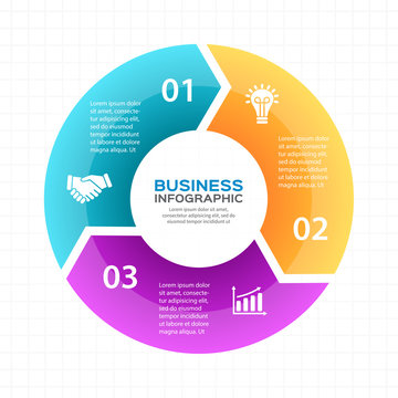Vector circle arrows infographic, diagram, graph, presentation, chart. Business cycle concept with 3 options, parts, steps, processes. Info graphic data template.