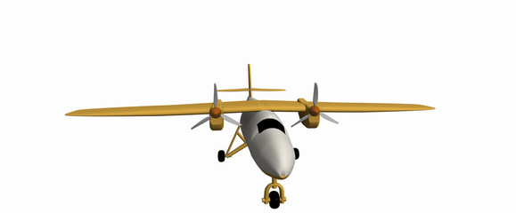 one yellow civilian small plane with two motors. A simple 3D model on a white background. Aircraft DHC-6 Twin Otter