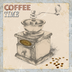 hand drawing of coffee and vintage coffee grinder, grunge frame, monochrome.vector ilustration