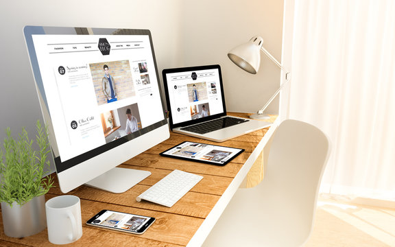 blog responsive concept on devices