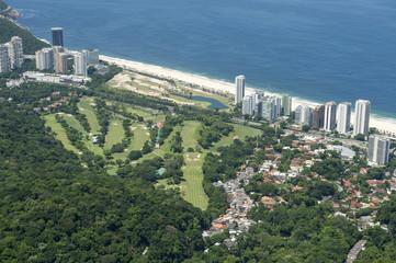 Scenic skyline view of the Sao Conrado neighborhood with its beach and golf course in Rio de Janeiro, Brazil