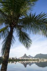 Scenic skyline morning view of Lagoa Rodrigo de Freitas lagoon in Rio de Janeiro Brazil with Ipanema and Leblon reflecting between palm trees on the calm horizon