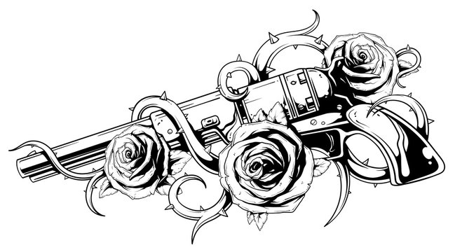 Vintage revolver with roses tattoo