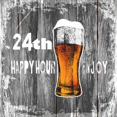 glass of beer with foam. wood background beer happy hour-enjoy.vector illustration