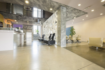 Aluminium Prints Airport Modern building lobby with reception desk