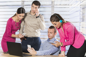 Business people looking at tablet