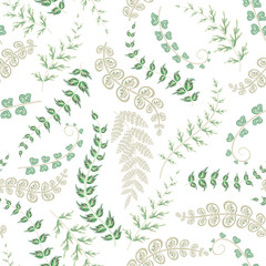 Summer leaves. Seamless hand painted pattern. Vector background