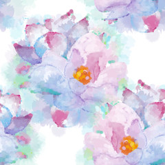 Hand painted watercolor imitation vector magnolia seamless pattern background. Not trace.