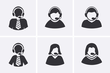 Support Manager Icons set. Men and Women with headphone symbol.