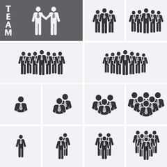 Businessman Icons set. Team Icons. Crowd of people. Group of men