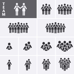 Businesswoman Icons set. Team Icons. Crowd of people. Group of w