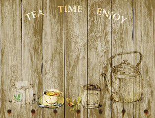 tea set on wooden background with copy space for text. hand drawn