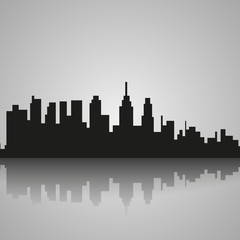 Black silhouette of Philadelphia with reflection. Vector illustration