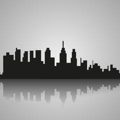 Black silhouette of Philadelphia with reflection. Vector illustration
