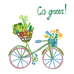 Go green eco card with bicycle and organic food