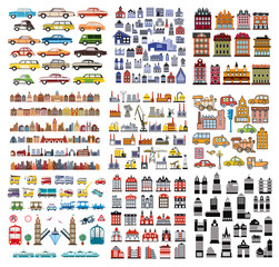 Objects for design and creativity. A set of houses and buildings.
