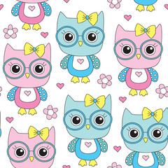 seamless cute owl with glasses pattern vector illustration