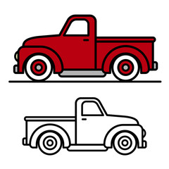 Two vintage pick-up truck outline drawings