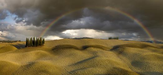 Tęcza nad polem cyprysów,Włochy,Toskania