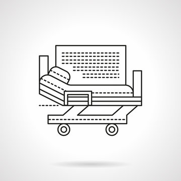Hospital bed flat line vector icon
