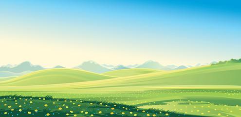 La pose en embrasure Piscine Summer landscape. Summer mountain landscape, vector illustration. It can be used as background.