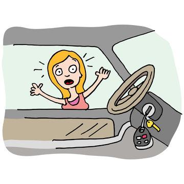 Woman locks her keys in car