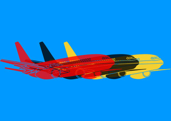 Avion de transport passagers pop art