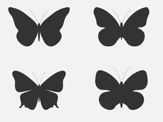 Set of butterflies. Butterflies silhouettes isolated on white background. Vector illustration.