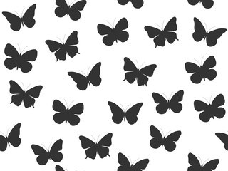 Butterfly seamless pattern. Seamless pattern of butterflies. Black and white color. Vector illustration.