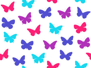 Butterfly seamless pattern. Seamless pattern of butterflies. Multicolored butterflies. Vector illustration.