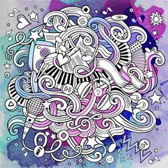 Cartoon hand-drawn doodles Musical illustration