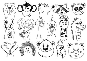 Set Of Funny Sketch Animal Face Icons.