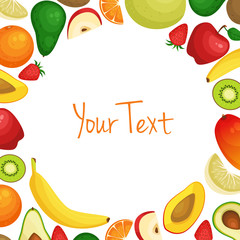 Vector frame background card with place for text with fresh fruits, organic vegan food. Health nutrition.