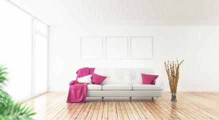 Stanza con divano bianco attico enorme