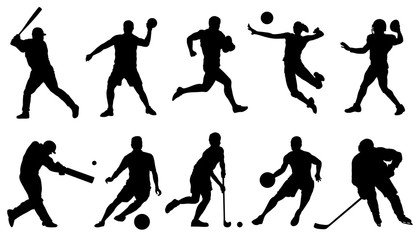 team sports action silhouettes