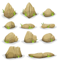 Rocks And Boulders With Grass Leaves Set