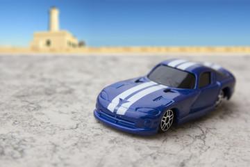 Model of blue sports car