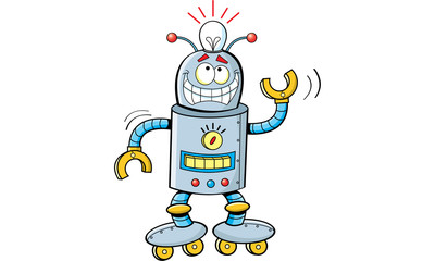 Cartoon illustration of a smiling robot.