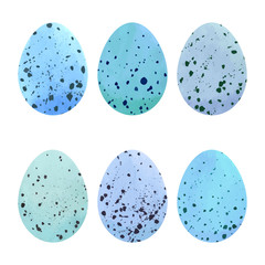 Watercolor Easter eggs set.