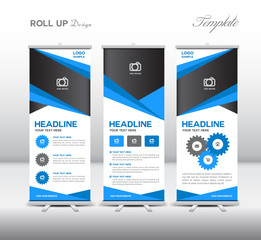 Blue Roll Up Banner template and info graphics, stand design,ban